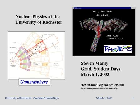 March 1, 2003University of Rochester - Graduate Student Days1 Nuclear Physics at the University of Rochester Steven Manly Grad. Student Days March 1, 2003.
