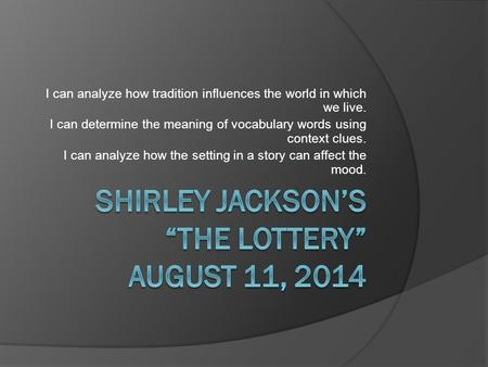 "essay questions for charles by shirley jackson Esther 1 lisa esther yanover english 121 section # sample literary analysis essay about shirley jackson's ""the lottery"" 19 aug 2014."