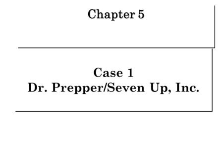 Case 1 Dr. Prepper/Seven Up, Inc. Chapter 5. Background   Kate Cox Brand Manager   2001 began drafting the brand's annual advertising and promotion.