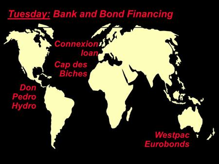 Copyright ©2003 Ian H. Giddy Global Banking and Lending Connexion loan Tuesday: Bank and Bond Financing Don Pedro Hydro Westpac Eurobonds Cap des Biches.