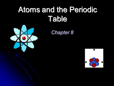 Atoms and the Periodic Table Chapter 8. Homework Assignment Chap 8 Read p 223 – 231; 236 - 242 Applying the Concepts (p 243): 1 – 13, 15 – 17, 19, 23.