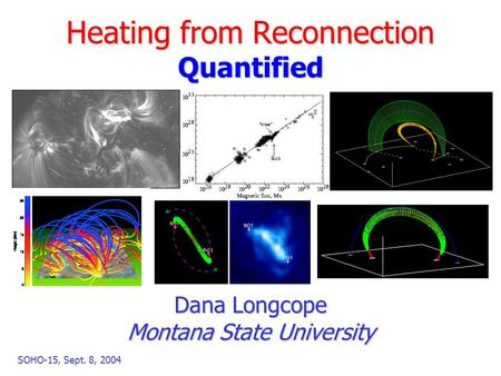 SOHO-15, Sept. 8, 2004 Heating from Reconnection Quantified Dana Longcope Montana State University.