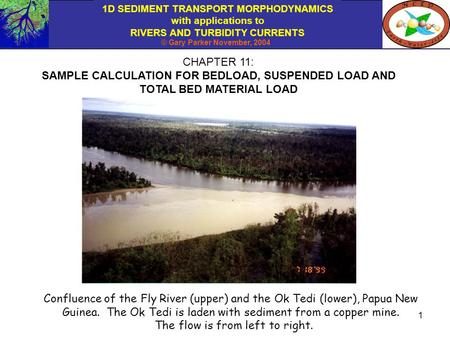 1D SEDIMENT TRANSPORT MORPHODYNAMICS with applications to RIVERS AND TURBIDITY CURRENTS © Gary Parker November, 2004 1 CHAPTER 11: SAMPLE CALCULATION FOR.