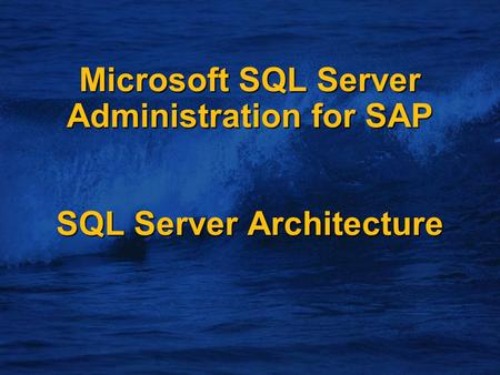Microsoft SQL Server Administration for SAP SQL Server Architecture.