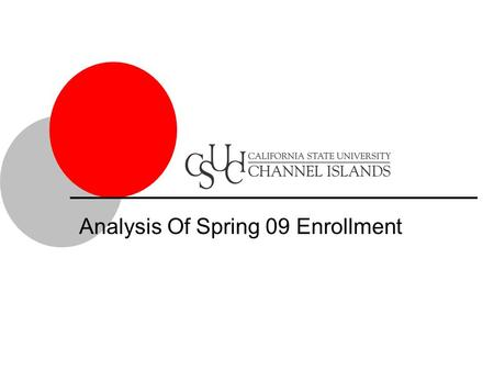Analysis Of Spring 09 Enrollment. Percent Enrolled / All Students Spring CSU Channel Islands.