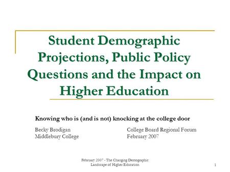 February 2007 - The Changing Demographic Landscape of Higher Education1 Student Demographic Projections, Public Policy Questions and the Impact on Higher.