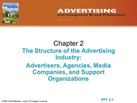 © 2009 South-Western, a part of Cengage Learning Chapter 2 The Structure of the Advertising Industry: Advertisers, Agencies, Media Companies, and Support.