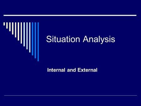 Situation Analysis Internal and External. Situation Analysis: Internal  Corporate issues Corporate mission and goals Growth and consolidation strategies.