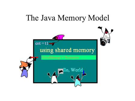 The Java Memory Model. JMM: SC intuition may fail Application programmer supposes sequential consistent memory model The trace proves that the memory.