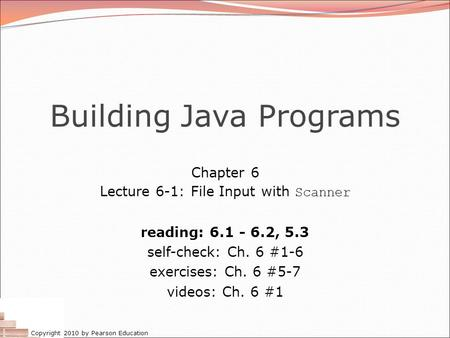 Building Java Programs Chapter  Exercises