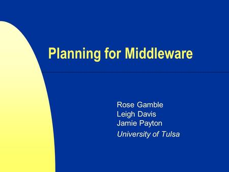Planning for Middleware Rose Gamble Leigh Davis Jamie Payton University of Tulsa.