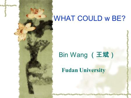 Bin Wang (王斌) Fudan University WHAT COULD w BE?. Outline Dark energy: Discords of Concordance Cosmology What is w? Could we imagine w<-1? Interaction.