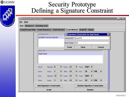 SACMAT02-1 Security Prototype Defining a Signature Constraint.