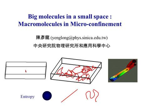 Big molecules in a small space : Macromolecules in Micro-confinement 陳彥龍 中央研究院物理研究所和應用科學中心 Entropy.