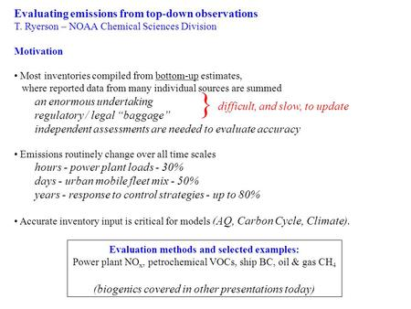 Evaluating emissions from top-down observations T. Ryerson – NOAA Chemical Sciences Division Motivation Most inventories compiled from bottom-up estimates,