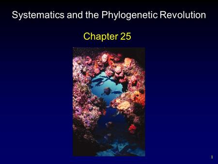 1 Systematics and the Phylogenetic Revolution Chapter 25.
