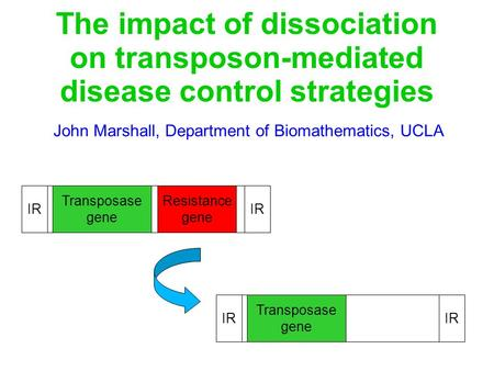 The impact of dissociation on transposon-mediated disease control strategies John Marshall, Department of Biomathematics, UCLA Transposase gene Resistance.