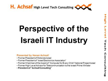 "Perspective of the Israeli IT Industry Presented by Hanan Achsaf: Former President of Motorola Israel Former President of ""Israel Electronics Association"""