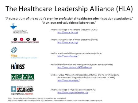The Healthcare Leadership Alliance (HLA)