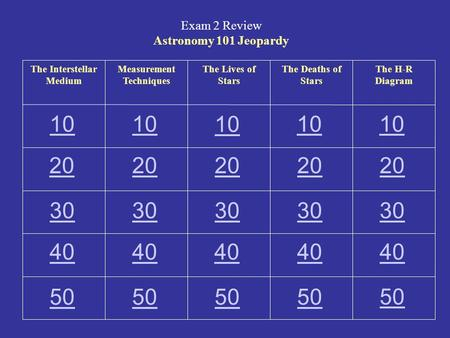 Exam 2 Review Astronomy 101 Jeopardy The Interstellar Medium Measurement Techniques The Lives of Stars The Deaths of Stars The H-R Diagram 10 20 30 40.