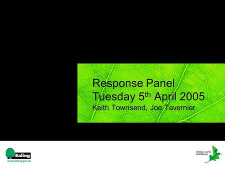 Response Panel Tuesday 5 th April 2005 Keith Townsend, Joe Tavernier.