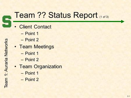 0-1 Team ?? Status Report (1 of 3) Client Contact –Point 1 –Point 2 Team Meetings –Point 1 –Point 2 Team Organization –Point 1 –Point 2 Team 1: Auraria.