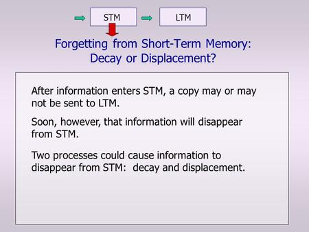 Forgetting from Short-Term Memory: Decay or Displacement? STMLTM After information enters STM, a copy may or may not be sent to LTM. Soon, however, that.