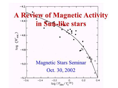 A Review of Magnetic Activity in Sun-like stars Magnetic Stars Seminar Oct. 30, 2002.