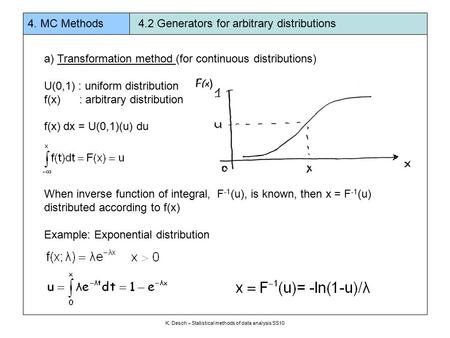 A) Transformation method (for continuous distributions) U(0,1) : uniform distribution f(x) : arbitrary distribution f(x) dx = U(0,1)(u) du When inverse.