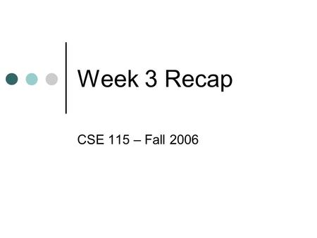 Week 3 Recap CSE 115 – Fall 2006. Java Source Code File Made up of: Package declaration Class definition.