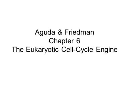 Aguda & Friedman Chapter 6 The Eukaryotic Cell-Cycle Engine.