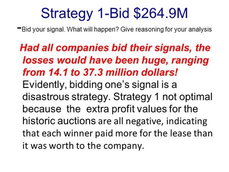 Strategy 1-Bid $264.9M - Bid your signal. What will happen? Give reasoning for your analysis Had all companies bid their signals, the losses would have.