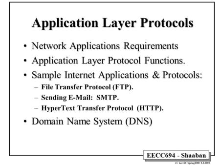 EECC694 - Shaaban #1 lec #15 Spring2000 5-2-2000 Application Layer <strong>Protocols</strong> Network Applications RequirementsNetwork Applications Requirements Application.
