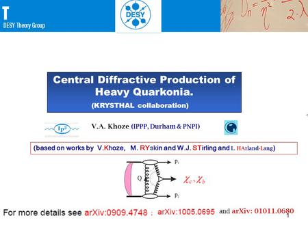 1 1  V.A. Khoze ( IPPP, Durham & PNPI ) (based on works by V.Khoze, M. RYskin and W.J. STirling and L. HArland-Lang ) Central Diffractive Production of.