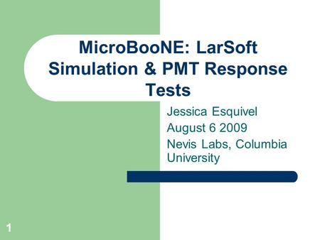 1 MicroBooNE: LarSoft Simulation & PMT Response Tests Jessica Esquivel August 6 2009 Nevis Labs, Columbia University.