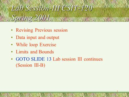 1 Lab Session-III CSIT-120 Spring 2001 Revising Previous session Data input and output While loop Exercise Limits and Bounds GOTO SLIDE 13 Lab session.