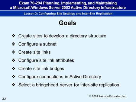 3.1 © 2004 Pearson Education, Inc. Exam 70-294 Planning, Implementing, and Maintaining a Microsoft Windows Server 2003 <strong>Active</strong> <strong>Directory</strong> Infrastructure.