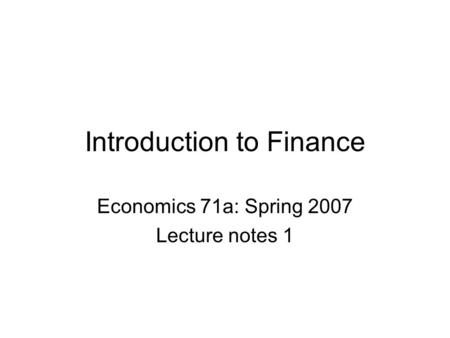 intro to financial economics