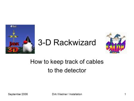 September 2006Dirk Wiedner / Installation1 3-D Rackwizard How to keep track of cables to the detector.