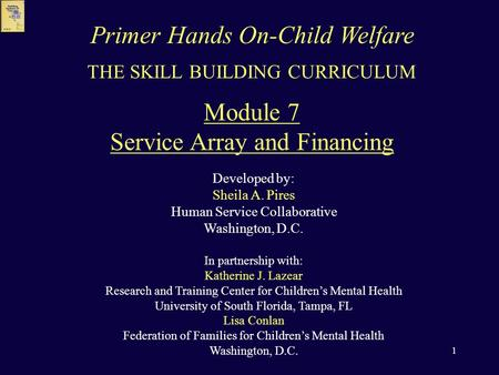 1 THE SKILL BUILDING CURRICULUM Module 7 Service Array and Financing Developed by: Sheila A. Pires <strong>Human</strong> Service Collaborative Washington, D.C. In partnership.