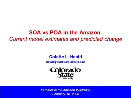 SOA vs POA in the Amazon: Current model estimates and predicted change Colette L. Heald Aerosols in the Amazon Workshop February.