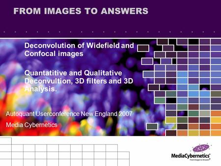 FROM IMAGES TO ANSWERS Deconvolution of Widefield and Confocal images Quantatitive and Qualitative Deconvultion, 3D filters and 3D Analysis. Autoquant.
