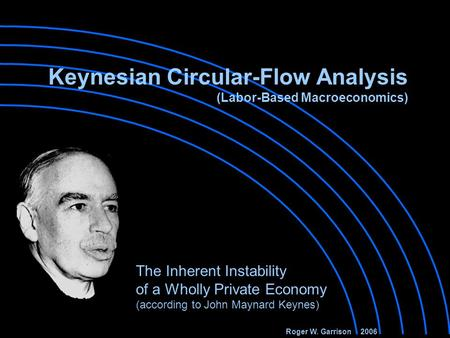 Keynesian Circular-Flow Analysis (Labor-Based Macroeconomics) The Inherent Instability of a Wholly Private Economy (according to John Maynard Keynes)