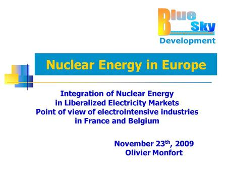 Development Nuclear Energy in Europe Integration of Nuclear Energy in Liberalized Electricity Markets Point of view of electrointensive industries in France.