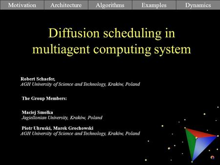 Diffusion scheduling in multiagent computing system MotivationArchitectureAlgorithmsExamplesDynamics Robert Schaefer, AGH University of Science and Technology,