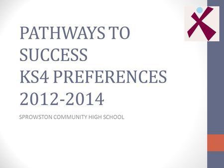 PATHWAYS TO SUCCESS KS4 PREFERENCES 2012-2014 SPROWSTON COMMUNITY HIGH SCHOOL.