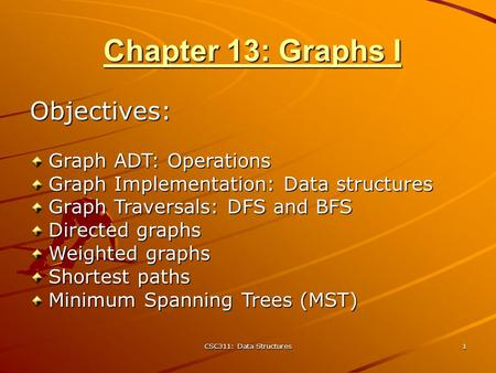CSC311: Data Structures 1 Chapter 13: Graphs I Objectives: Graph ADT: Operations Graph Implementation: Data structures Graph Traversals: DFS and BFS Directed.