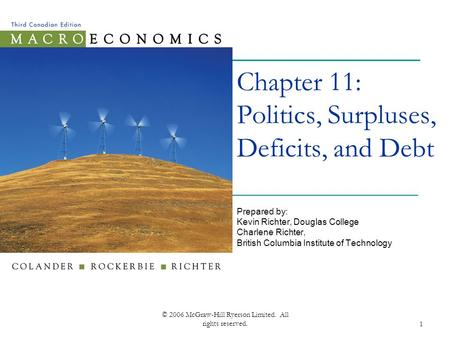 © 2006 McGraw-Hill Ryerson Limited. All rights reserved.1 Chapter 11: Politics, Surpluses, Deficits, and Debt Prepared by: Kevin Richter, Douglas College.