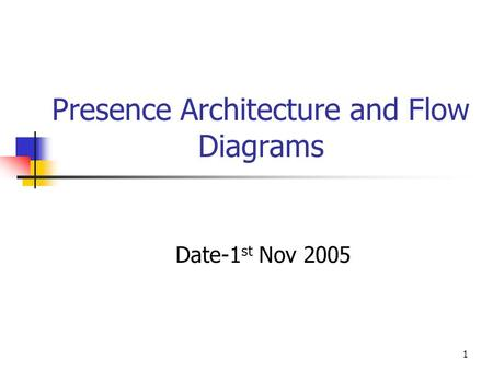 1 Presence Architecture and Flow Diagrams Date-1 st Nov 2005.