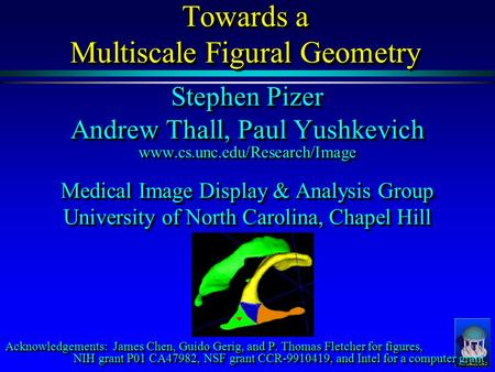 Towards a Multiscale Figural Geometry Stephen Pizer Andrew Thall, Paul Yushkevich www.cs.unc.edu/Research/Image Medical Image Display & Analysis Group.